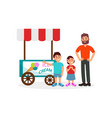 little kids asking his father to buy ice cream vector image vector image