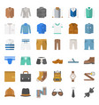 male clothes and accessories flat icon set 1 vector image vector image