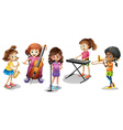 Many kids playing different musical instruments vector image vector image