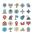 maps and navigation colored icons set 2 vector image vector image
