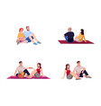 movie date couples semi flat rgb color set vector image