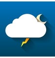 Night cloud moon and lightning isolated on dark vector image