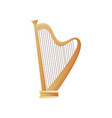 old ancient musical instrument wood harp with many vector image vector image