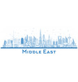 outline middle east city skyline with blue vector image