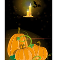 Pumpkins and burning candles vector image vector image