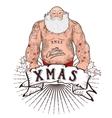Santa with tattoos vector image vector image