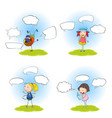 set of kids with speech balloon vector image vector image