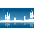 Silhouette of Christmas snowman and reflection vector image
