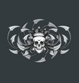 skull with crown engraving emblem vector image vector image