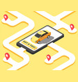 taxi concept isometric yellow car cab riding for vector image vector image
