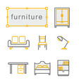 thin line icons set furniture yellow vector image vector image