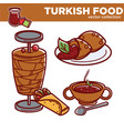 turkish food cuisine dishes flat icons vector image vector image
