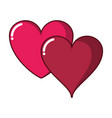 two hearts isolated vector image vector image
