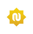 Unique symbols alphabet letter n with gold color
