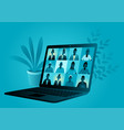 video conference application with group people vector image vector image