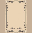 vintage empty frame in wild west style design vector image vector image