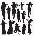 violinist silhouettes vector image vector image