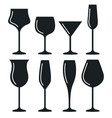 wine glass cup icon set red wine symbol pour vector image vector image