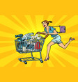 woman on sale of home appliances shopping cart vector image vector image