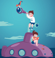 Girl and boy on submarine vector image