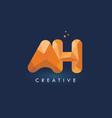 ah letter with origami triangles logo creative vector image vector image