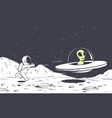astronaut catching up with an alien vector image vector image