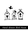 birds and birdhouses stylized hand drawn vector image