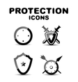 Black glossy protection icon set vector image