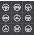 black Steering wheels icons set vector image vector image