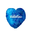 blue valentine watercolor triangle heart vector image vector image