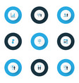 board icons colored set with project statistics vector image vector image