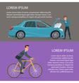 Car crash buying a bike Cartoon poster Banners vector image vector image