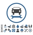 Car Repair Flat Rounded Icon With Bonus vector image vector image