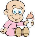 cartoon baby holding a baby bottle vector image