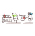 cartoon characters and car - alcohol test vector image vector image