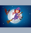 cartoon witch flying use a broomstick vector image vector image