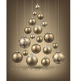 Christmas tree with golden christmas balls vector image vector image