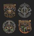 colorful viking vintage badges vector image vector image