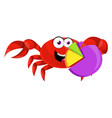 crab with analytic sign on white background vector image
