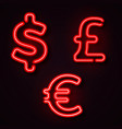 currency neon symbols vector image vector image