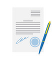 document officially certified signature and blue vector image