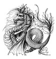 dragon graphic black-and-white water vector image