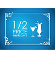 drinks floral blue background vector image vector image