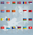 European countries flag pins vector image