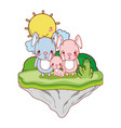 family rabbit animal in the float island vector image vector image