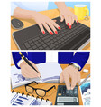 female hands type on keyboard and male ones write vector image vector image