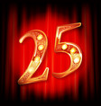 gold numbers 25 greeting card vector image vector image