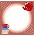 Greeting card with teapot and cups vector image vector image
