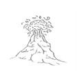 hand drawn sketch dangerous volcano eruption vector image vector image