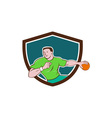 Handball Player Throwing Ball Crest Cartoon vector image vector image